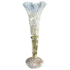 "12.5"" American Brilliant Cut Crystal Trumpet Vase Prism Hobstar"