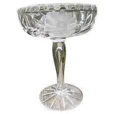 Cut Crystal Pedestal with Teardrop in Stem