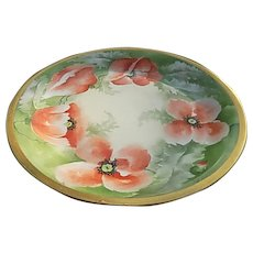 Limoges France Hand Painted 12 inch Poppies Porcelain Plate