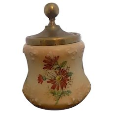 Ultra Rare CF Monroe, Rodefer Glass Wave Crest Hand Painted Daisy Biscuit Jar
