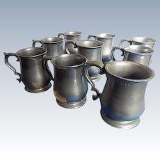 8 Wilton Armetale Mugs Hallmarked