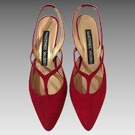 Martinez Valero Strappy Red Suede Sling-Back Heels