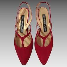 Martinez Valero Strappy Red Suede Sling-Back Heels