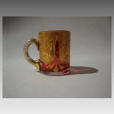Bohemian Miniature Cased Glass Mug; Crystal over Cranberry