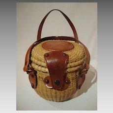 Rare Peck & Peck Nantucket Style Basket Purse, 1950's