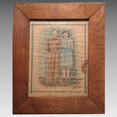 Folk Art Depression Era Portrait in Homemade Frame