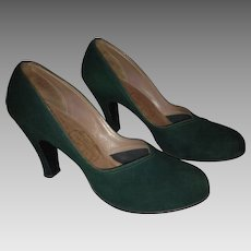 1940's Forest Green Suede Baby Doll Pumps