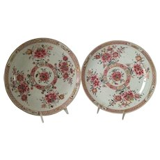 18th C. Chinese Export Porcelain Famille Rose Matched Pair of Chargers
