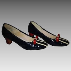 60's Spiegel Red, White & Blue Patent Heels 7 1/2 C