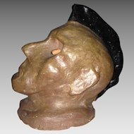 Folk Art Brick Clay Native American Bust