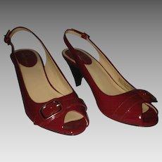 Vintage Cole Haan Red Patent Peep-Toe Sling-Back Heels 6B