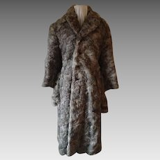 1940's-50's Man's Grey Lapin Mid-Calf Length Coat