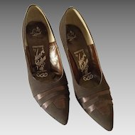 1950's Henri Flatow Brown Satin Pumps