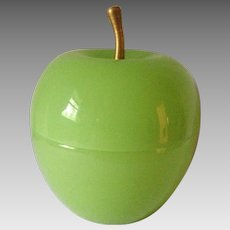 Art Deco French Opaline Apple Green / Uranium Apple Jar