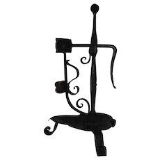Lt. 18th Ea 19th C. Swedish Wrought Iron Folk Art Candle – Rush Holder