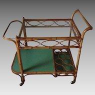 Hollywood Regency Rattan Bar Cart