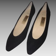 Early 1980's Amalfi Black Suede Heels; Size 6 1/2 C