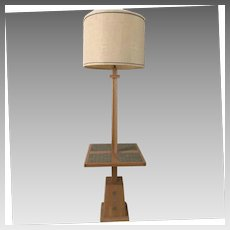 A. Brandt Ranch Oak 1960's Combo Floor--Table Lamp
