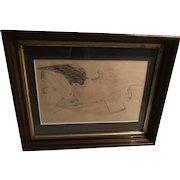 1860's Folk Art War Eagle Graphite on Paper