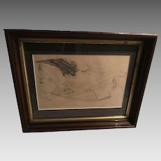1860's Folk Art War Eagle Graphite on Paper
