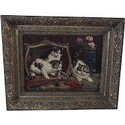 19th C. Folk Art Mischievous Kittens Oil on Canvas – Signed