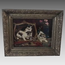 19th C. Folk Art Mischievous Kittens Oil on Canvas – Signed