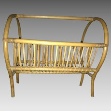 Hollywood / Palm Beach Regency Rattan Magazine Holder