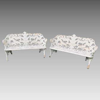 Pair of 19th Century Fern Pattern Cast Iron Benches