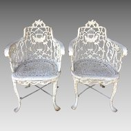 Pair of 1850's Robert Wood Lyre-Back Cast Iron Chairs