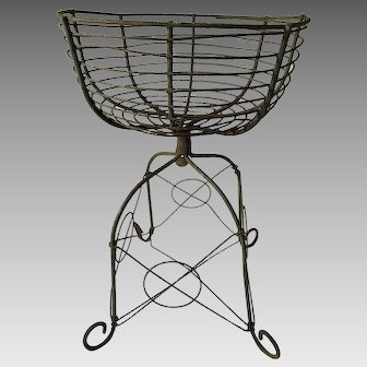 19th Century Wrought Iron and Wirework Footed Urn