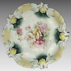 RS Prussia Acorn Mold Floral Bowl Red Mark