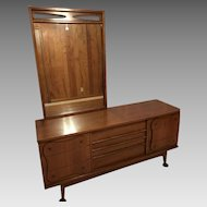 Mid-Century Bassett Triple Dresser with Mirror