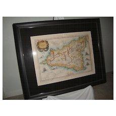 MAP: Siciliae Regnum (Kingdom of Sicily) CIRCA: 1630 by Gerard Mercator.  Printed by Henricus Hondius.