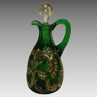 Flora Cruet Emerald Green with Gold Leaf and original Stopper; Beaumont Glass Company.