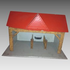 Folk Art Child's Red Roof Stables