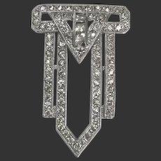 Coro Dress Clip Rhinestone Art Deco Unsigned c1930's