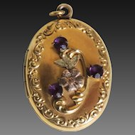 Art Nouveau Locket 10K Gold Filled with Rhinestones