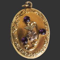 Art Nouveau Locket 10K Gold Filled with Rhinestones