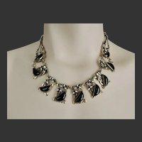 Max Neiger Art Deco Czech Glass & Enamel Necklace c1920's
