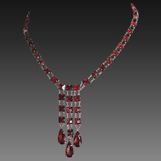 Red Glass Silver Necklace Art Deco Germany c1930's