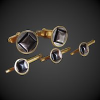 Cufflinks and Studs Set Tuxedo Abalone Swank
