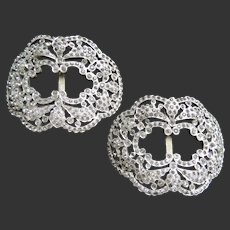 Rhinestone Shoe Clips Buckles Art Deco c1920's