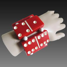 Domino Bakelite Bracelet Red with White Dots c1950's