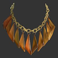 Bakelite Necklace Apple Juice Drops on Celluloid Chain Art Deco c1930's