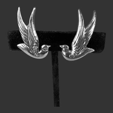 Los Castillo Bird Dove Earrings Screw Backs Sterling Silver Taxco Mexico c1940's