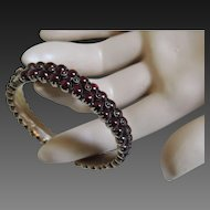 Victorian Garnet Hinged Bangle Bracelet Early 1900's