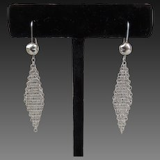 Tiffany Elsa Peretti Dangle Mesh Tassel Earrings Sterling c1981