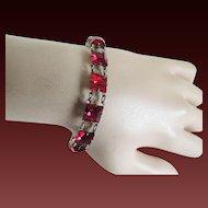 Red glass Bracelet Sterling Art Deco c1930's