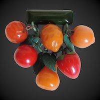 Bakelite Fruit Pin Brooch Dangly Carved c1940's