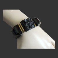 Carved Bakelite Bracelet Black Link Flowers  c1940's